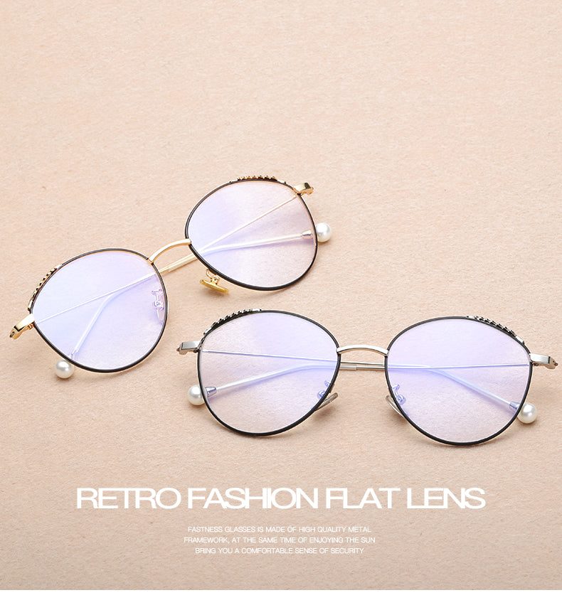 9728848b8e9b Kottdo New Fashion Pearls Eyeglasses Frame Clear Glasses Women Round Face  Spectacle Retro Vintage Myopia Glasses