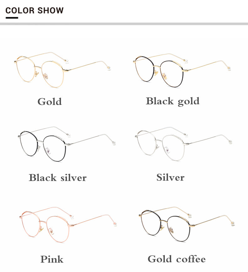 54f5d3844a6 Kottdo New Fashion Pearls Eyeglasses Frame Clear Glasses Women Round Face  Spectacle Retro Vintage Myopia Glasses