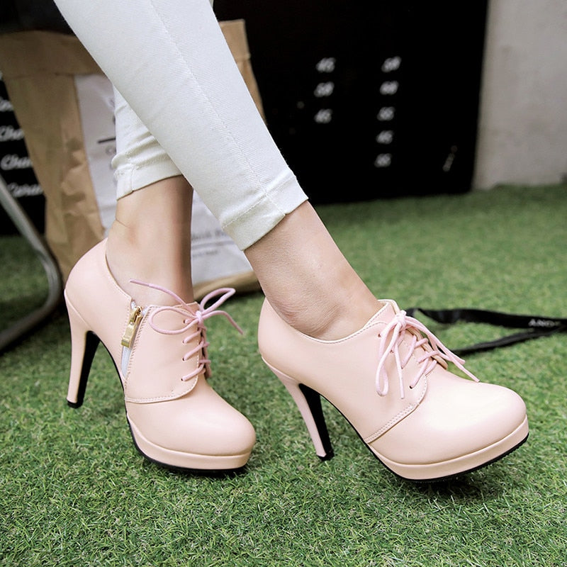 1d861acd9 BONJOMARISA 2019 Spring Autumn Four Colors Lace Up Deep Pumps Platform Shoes  Woman High Heels Big