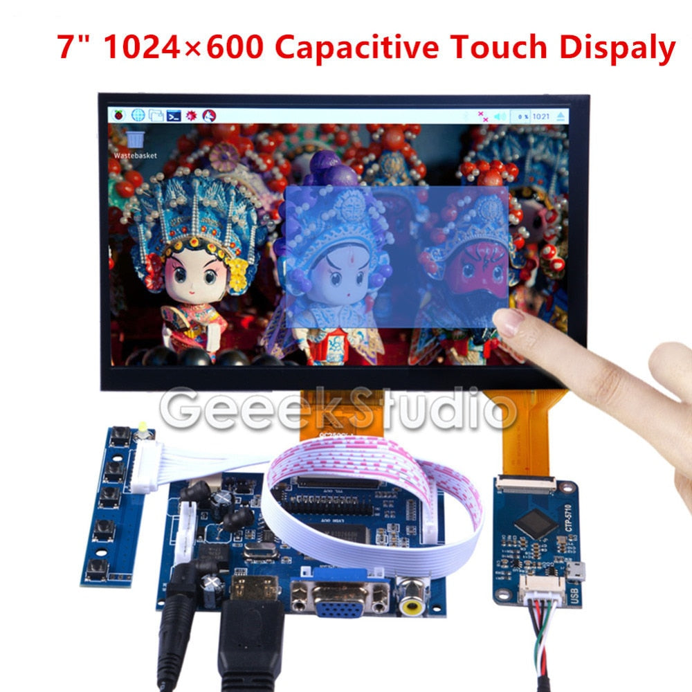 7 inch 1024*600 Capacitive Touch Display Screen Monitor for