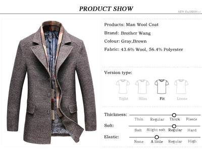 42cb4571d8cf 2019 Winter Men s Casual Wool Trench Coat Fashion Business Long Thicken Slim  Overcoat Jacket Male Peacoat