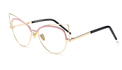 CCSPACE Ladies Cat Eye Glasses Frames Metal pilot Color Coating Eyebrow Women Brand Designer Optical Fashion Eyewear 45189