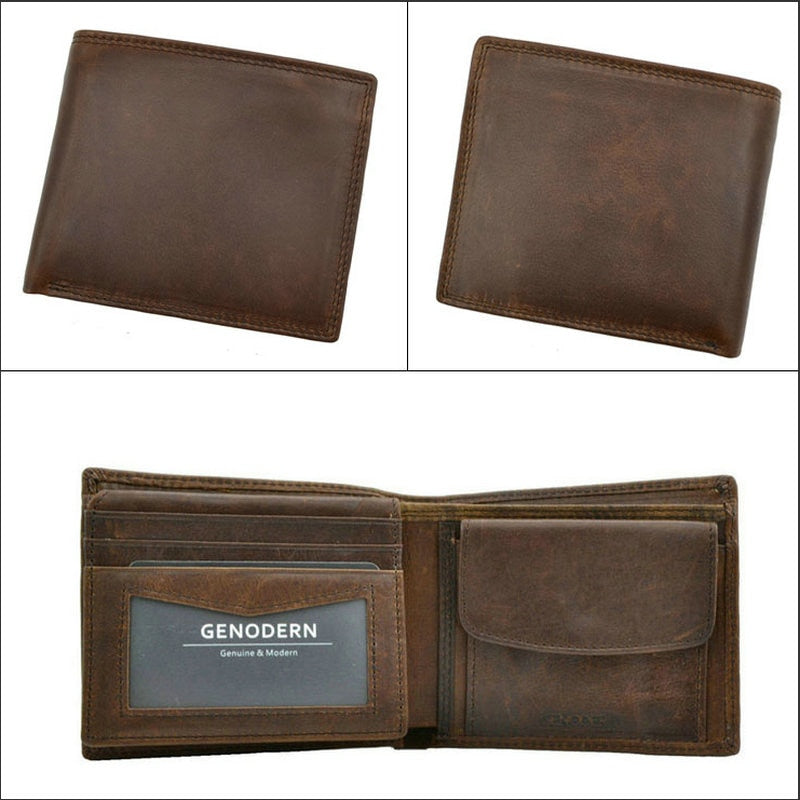 6a61873b61 GENODERN Cow Leather Men Wallets with Coin Pocket Vintage Male Purse  Function Brown Genuine Leather Men Wallet with Card Holders