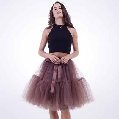 abd54df709d1b Petticoat 5 Layers 60cm Tutu Tulle Skirt Vintage Midi Pleated Skirts Womens  Lolita Bridesmaid Wedding faldas Mujer saias jupe