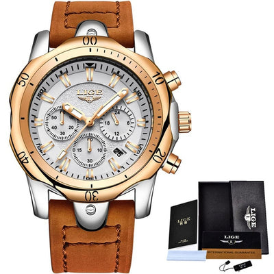 2019 LIGE Mens Watches Brand Luxury Gold Quartz Watch Men Casual Leather Military Waterproof Sport Wrist Watch Relogio Masculino