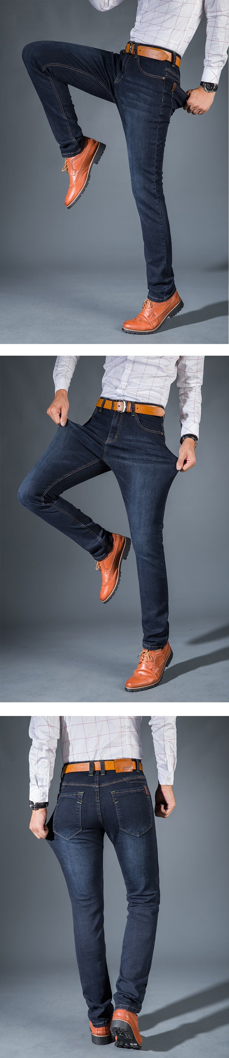 3203209ee6aef Vomint Men's Jeans High Stretch Fashion Black Blue Denim Brand Men Slim Fit  Jeans Size 30