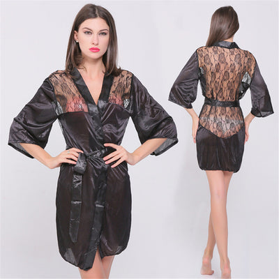 4e4b3b020b5 MUPLY New Hot Sexy Lingerie Plus Size Satin Lace Black Kimono Intimate  Sleepwear Robe Sexy Night
