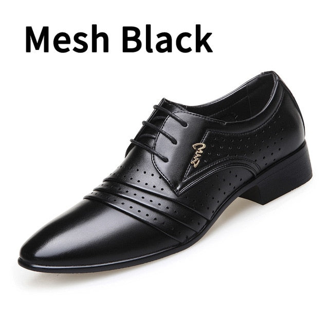 2019 New Leather Men Oxford Shoes Bussiness Wedding Shoes Hole Mesh Handmade Business Oxfords Mens Footwear Dress Shoes Formal Shoes