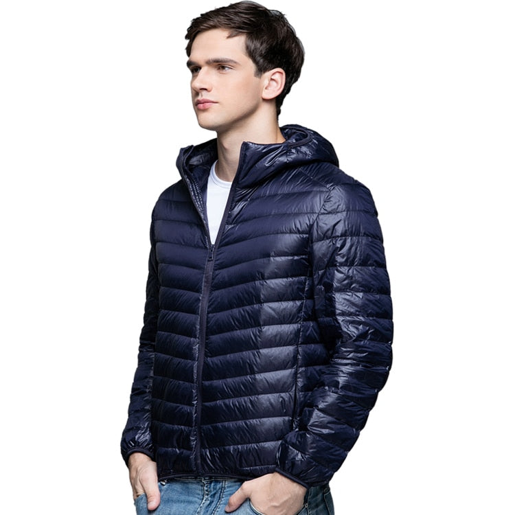 da516e54a Man Winter Autumn Jacket 90% White Duck Down Jackets Men Hooded Ultra Light  Down Jackets Warm Outwear Coat Parkas Outdoors