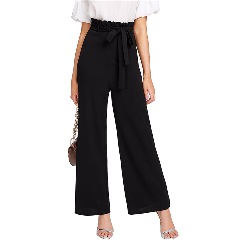 7b049b2a81 Sheinside Self Belt Ruffle Waist Wide Leg Pants Women Black High Waist  Zipper Fly Trousers 2019