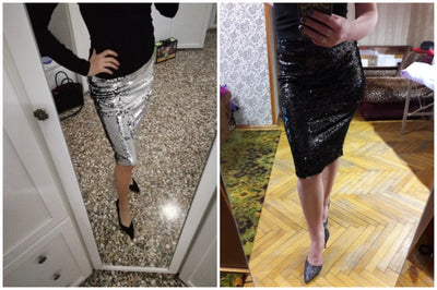 Shiny Stretchy High Waist Gold Black Silver Women Sequin Pencil Skirt Jupe Falda Saia Long Sexy Club Party Bodycon Midi Skirt