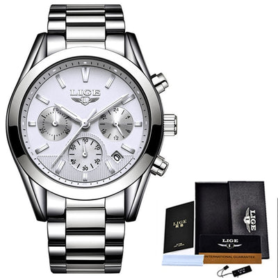 Relojes Hombre 2018 New LIGE Mens Watches Top Brand Luxury Fashion Business Quartz Watch Men Waterproof Full steel Sport Watch