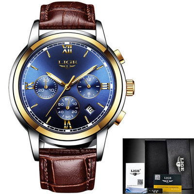 New LIGE Mens Watches Top Luxury Brand Casual Fashion Leather Quartz Watch Men Sport Waterproof Luminous Clock Relogio Masculino