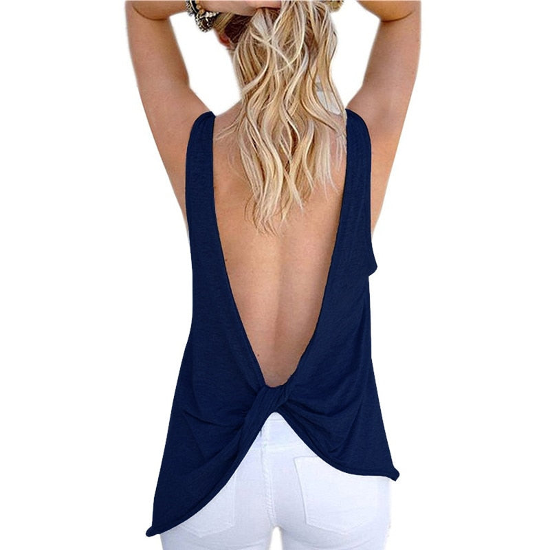 22a2919fd119 2019 New Arrival Summer Women Sexy Sleeveless Backless Shirt Knotted Tank  Top Blouse Sexy Vest Tops