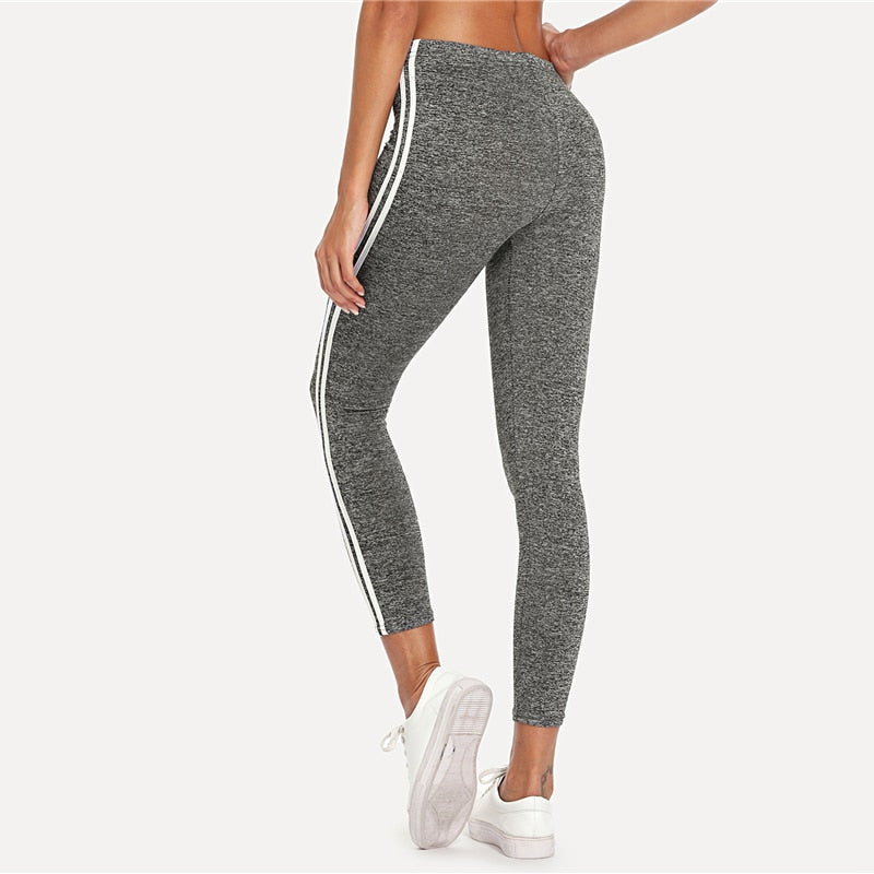 f76596201148a SweatyRocks Striped Tape Side Elastic Waist Leggings Grey Crop Sporting  Leggings Women New Arrivials Summer Athleisure