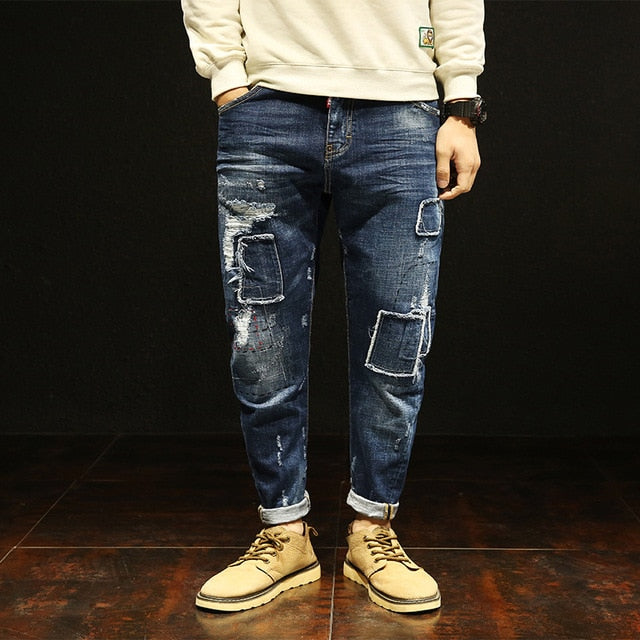 665ad5c8f29 New men's thin jeans stretch fashion wild young Korean version of the trend  of patch loose