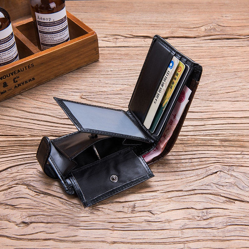 bf73f5c14aa6 Baellerry Vintage Leather Hasp Small Wallet Coin Pocket Purse Card Holder  Men Wallets Money Cartera Hombre