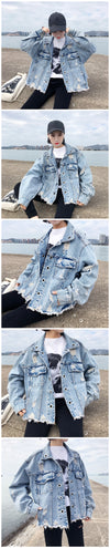 PLAMTEE Personality Frayed Open Stitch Denim Jacket for Women Long Sleeves Loose Tassel Women's Spring Jacket with Pockets New