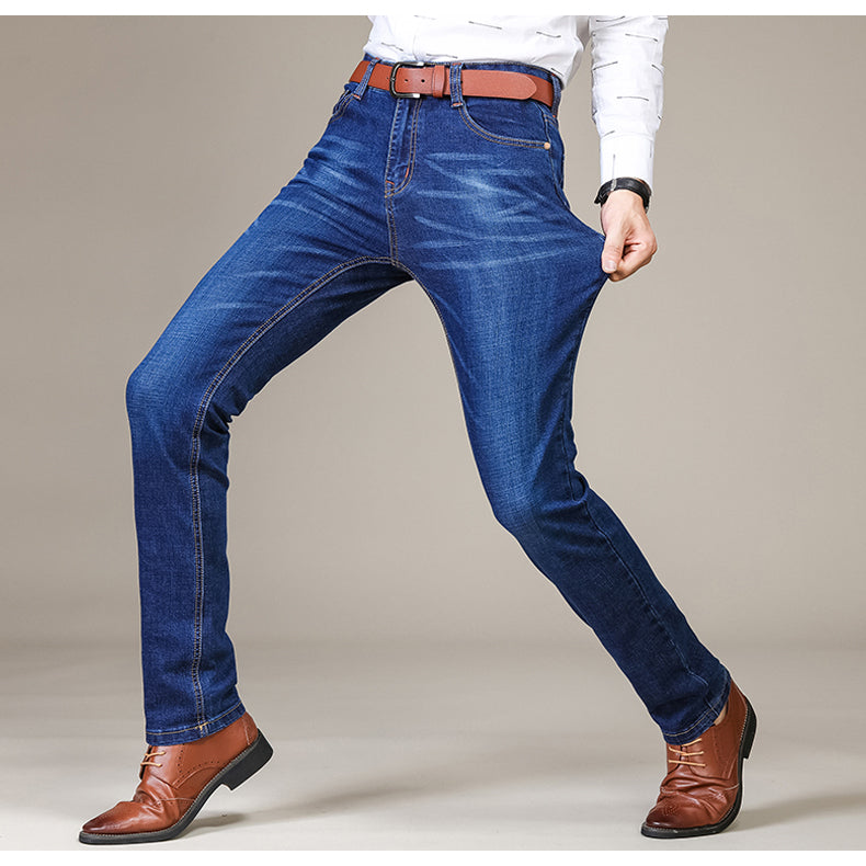 d6014b2e6f91 Brother Wang Brand 2019 New Men s Fashion Jeans Business Casual Stretch Slim  Jeans Classic Trousers Denim