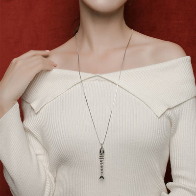 Swinging Metal Fish Bone & Fishing Hook Skeleton Sequins Pendant Necklace Silver Long Chain sweater Necklace Jewelry Unique Gift