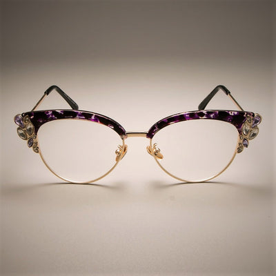 49090c6dbec2 CCSPACE GORGEOUS Ladies Cat Eye Shiny Rhinestones Glasses Frames For Women  Brand Designer Eyewear Optical EyeGlasses