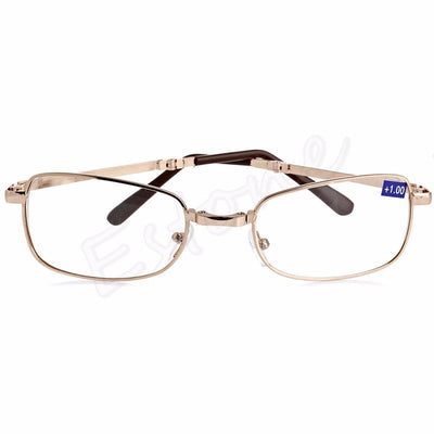 A40 New Unisex women men 1PC Folding Metal Reading Glasses +1.00 1.50 2.00 2.50 3.00 3.50 4.00 Diopter + Case F05