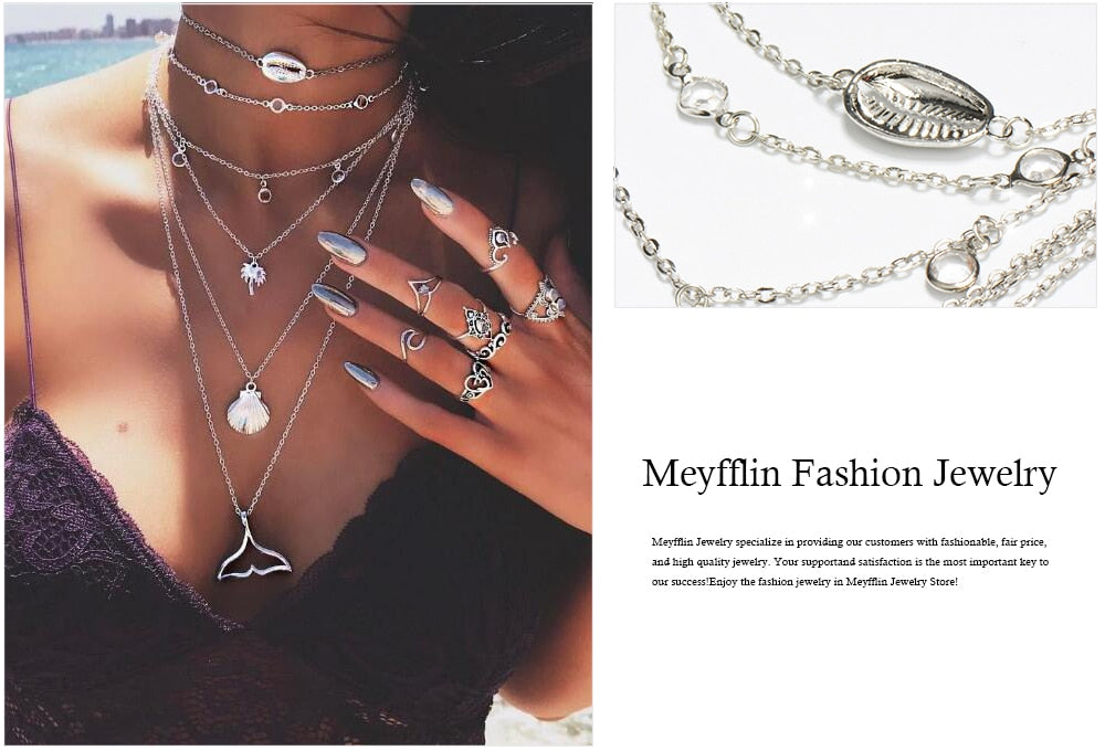 090ffd8d3d6fd Meyfflin Bohemia Multilayer Chain Choker Necklaces & Pendants for Women  Punk Elephant Moon Shell Necklace Fashion Collar Jewelry