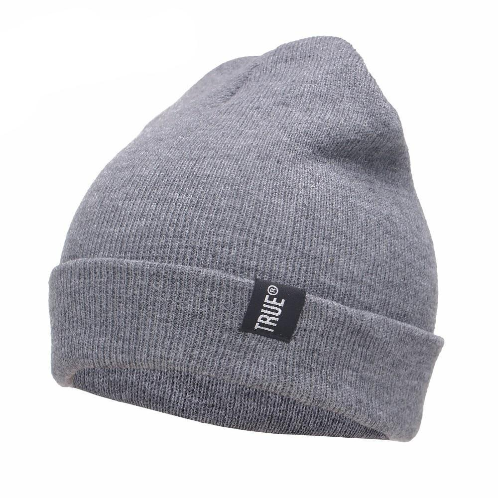 c6a03436 Letter True Casual Beanies for Men Women Fashion Knitted Winter Hat Solid  Color Hip-hop