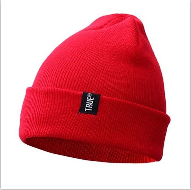 2fab2ba1127 Letter True Casual Beanies for Men Women Fashion Knitted Winter Hat Solid  Color Hip-hop