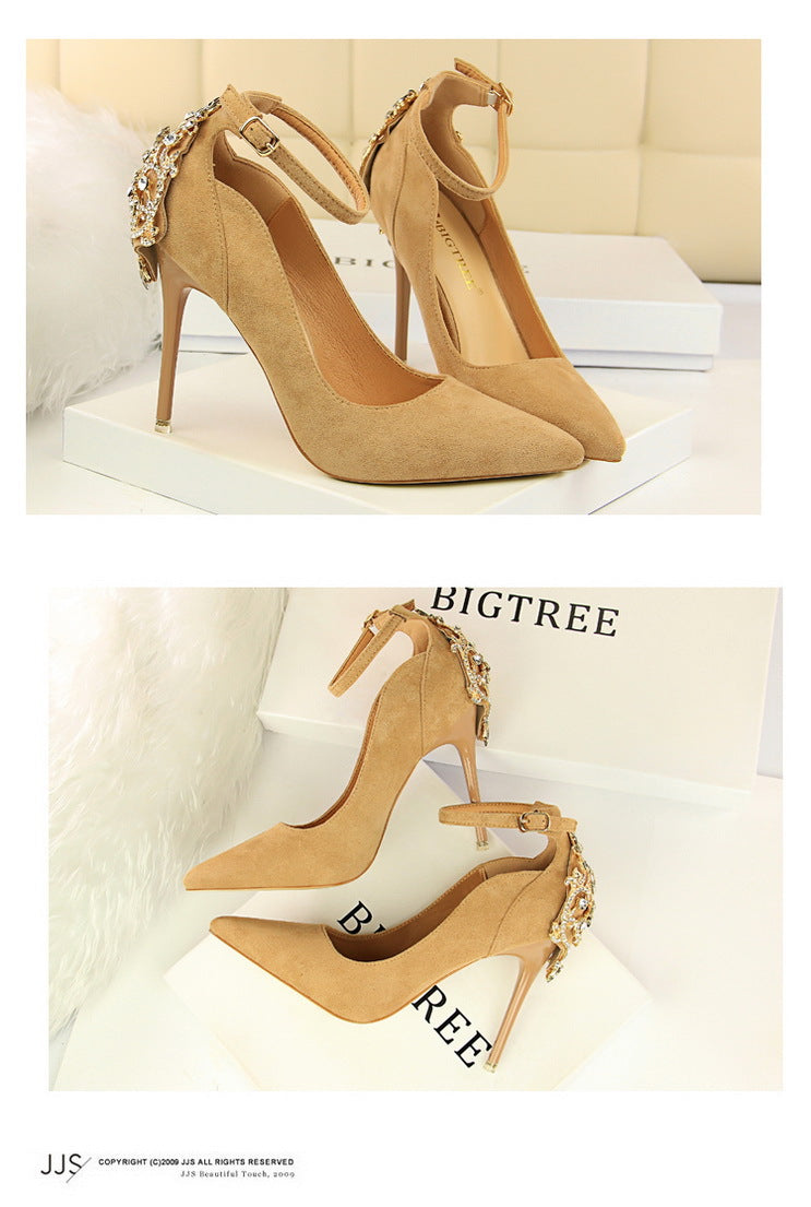 e524bfa311 BIGTREE Elegant Crystal Pointed Toe Wedding Shoe Women's Pumps Solid Flock  Fashion Buckle Shallow High Heels Shoes for Women