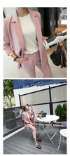 Women Pant Suit Pink Solid Double Breasted Blazer & High Waist Pant Elegant Sweet Office Lady Basic Suit Plus Size Hots S87442X