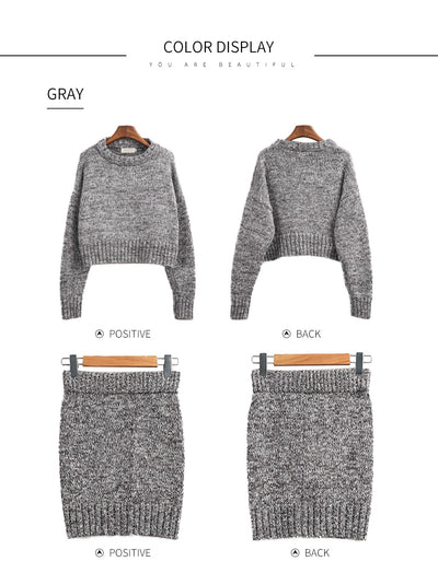 GOPLUS 2019 Winter 2 Pieces Sweater Dress Set Women Long Sleeve Office Wear Casual Gray  Pullover Knitted Dresses Clothing Suit