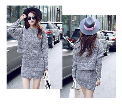 1c4253f26c GOPLUS 2019 Winter 2 Pieces Sweater Dress Set Women Long Sleeve Office Wear  Casual Gray Pullover