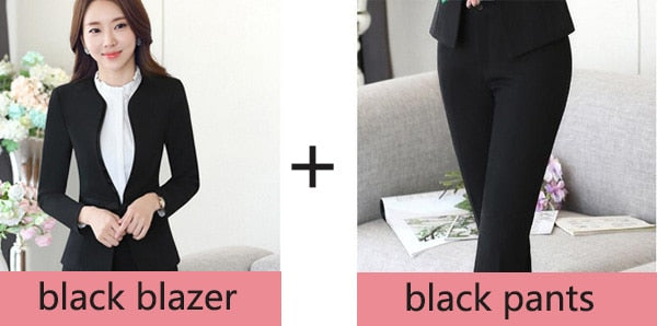 523268af4bc Women business suits long sleeve fashion elegant office ladies suit Simple  and slim pants suits for female blazers & suits