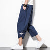 Style Male Crane Embroidery Harem pants Men Calf Length Cotton Linen Bermuda Masculina Male Pants QT4013-M76