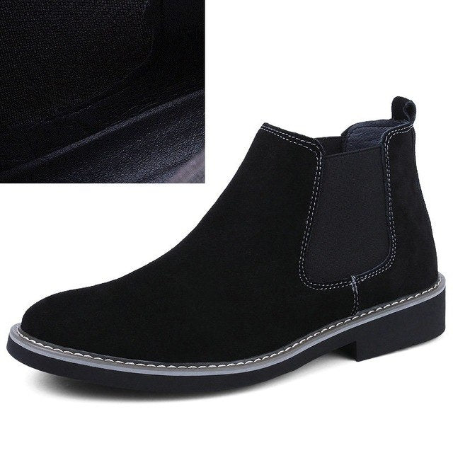 Winter Genuine Suede Leather Business Man Office Work Shoes Male Footwear Top Brand Zipper Retro Ankle Boots Wedding Dress Shoes Men's Shoes Work & Safety Boots