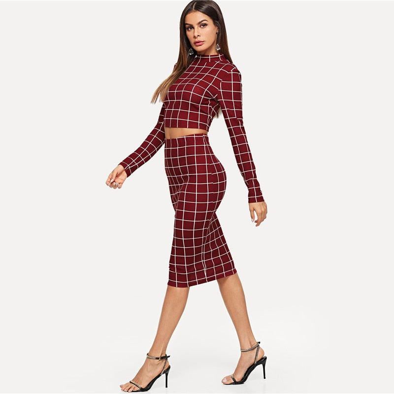2c30b287ed54 Sheinside Plaid Burgundy Long Sleeve Stand Collar Crop Top and Midi Skirt  Elegant Two Piece Set