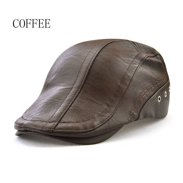 91c68a4070c32 New Autumn Winter Beret Caps Unisex Mens Hats PU Leather Solid Beret Hat  British Retro Men