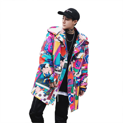 Long Trench Coat Men Streetwear Geisha Printed Hooded High Street Clothing