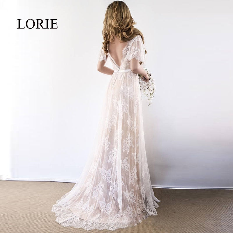 d7f63d0120 LORIE Boho Wedding Dress 2019 V Neck Cap Sleeve Lace Beach Wedding Gown  Cheap Backless Custom Made Free Shipping Bride Dresses