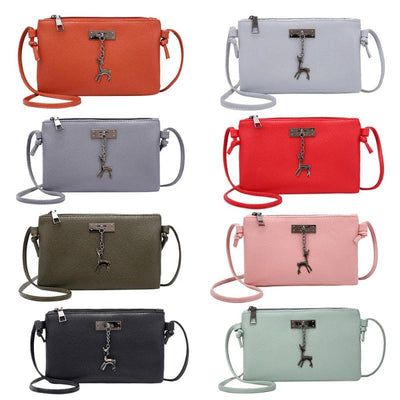 Deer Women Bag 2018 New Girl Messenger Bags Fashion Lady Zipper Envelope Crossbody Mini Bag Small Shoulder Bags Sac a Main