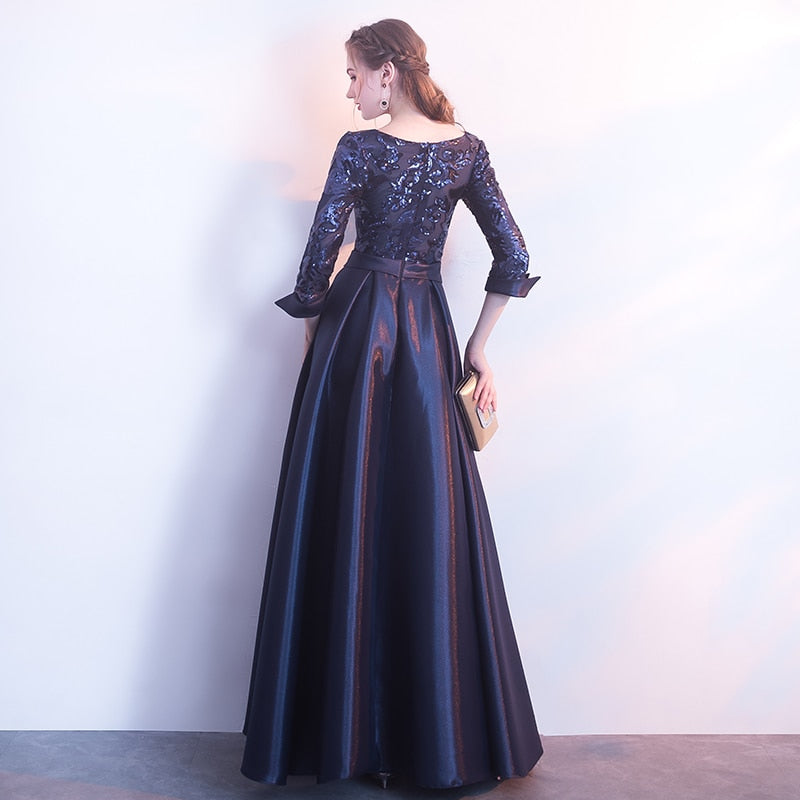 86fe48ee77d25 SSYFashion New Mother of The Bride Dress The Banquet Elegant Gold and Navy  Blue 3/4 Sleeves Satin Sequins Long Party Formal Gown