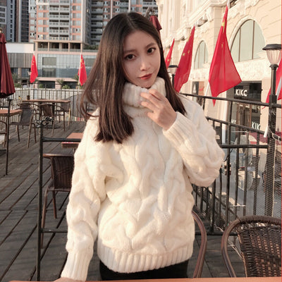 H.SA Women Turtleneck Sweaters Autumn Winter 2019 Pull Jumpers European Casual Twist Warm Sweaters Female oversized sweater Pull