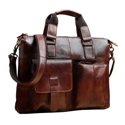 "Men Genuine Leather Antique Retro Business Briefcase 15.6"" Laptop Case Attache Portfolio Bag One Shoulder Messenger Bag B260"