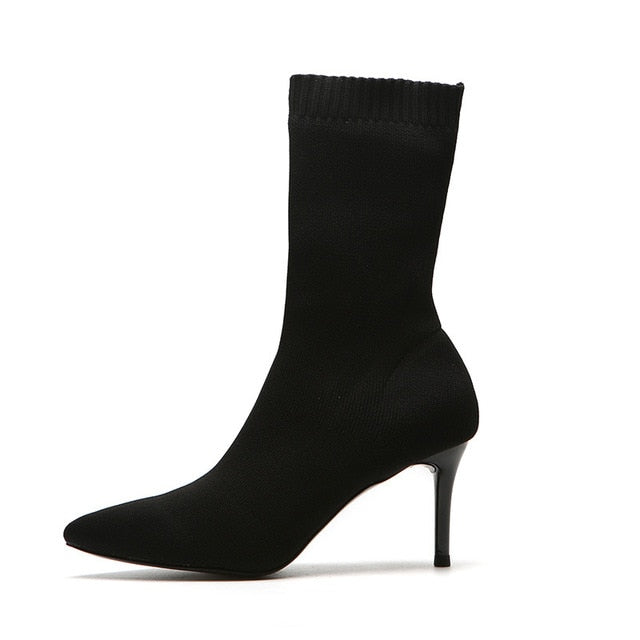 8dcb7a499919 Black Sock Boots Women High Heels Pointed Toe Stretch Fabric Woman Boots  Shoes Heel Ankle Boots