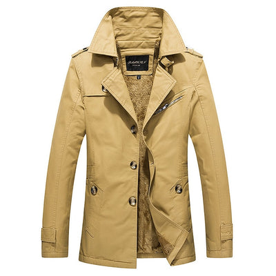 Winter Men's Fleece Trench Coat Fashion Plus Size Thicken Silm Long Trench Coats Men Overcoat Pull Homme M~5XL AF2077SD2