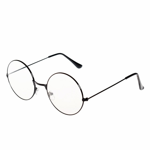 9aed24092 New man Woman Retro Large Round Glasses Transparent Metal eyeglass frame  Black Silver Gold spectacles Eyeglasses