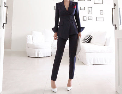 Women Irregular Striped Pant Suits Single Breasted Blazer Jacket and Slim Pencil Pant 2 Pieces Set Female Wear to Business Suits