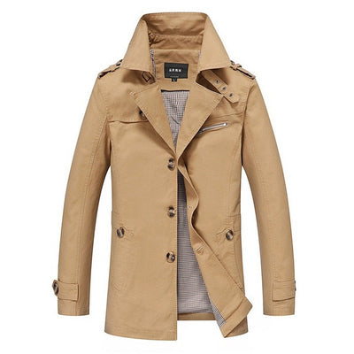 NEW High Quality Fashion Winter long trench coat men slim Casual Black cotton overcoat male windbreaker jacket coat Autumn S-5XL