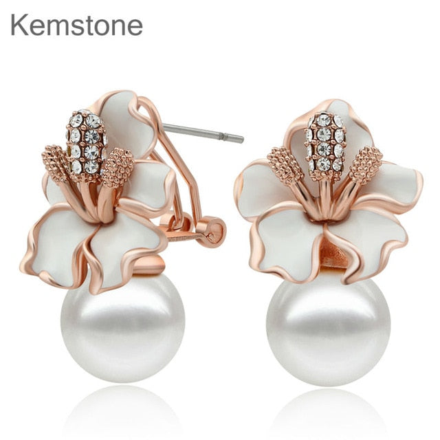 773eab076 Kemstone Rose Gold Color Simulated Pearl Women Flowers Stud Earrings  Jewelry Gifts With Austria Rhinestone
